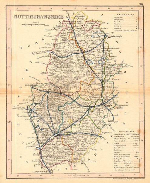 Associate Product NOTTINGHAMSHIRE map by ARCHER & DUGDALE. Seats polling places canals c1845