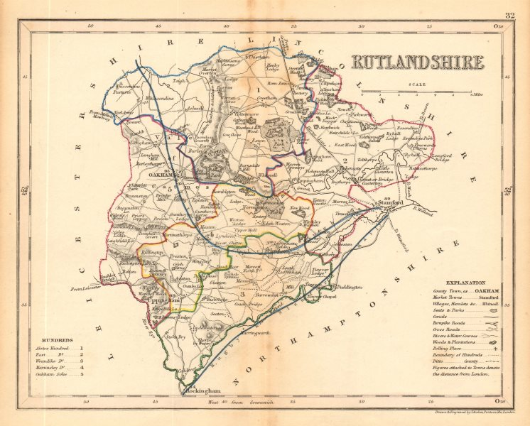 Associate Product RUTLANDSHIRE county map by ARCHER & DUGDALE. Seats canals polling places c1845