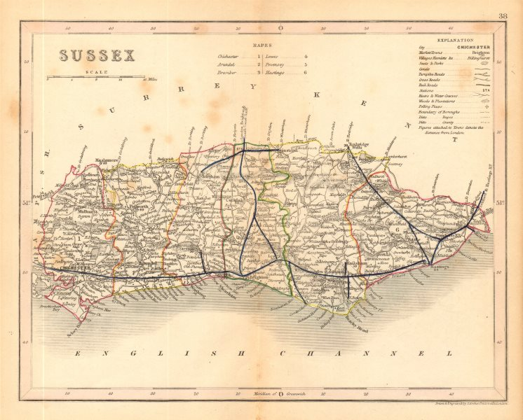 Associate Product SUSSEX county map by ARCHER & DUGDALE. Canals seats polling places c1845