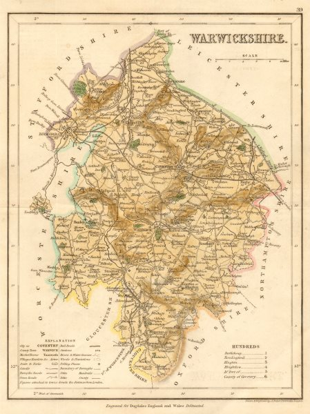 Associate Product WARWICKSHIRE county map by ARCHER & DUGDALE. Seats canals polling places c1845
