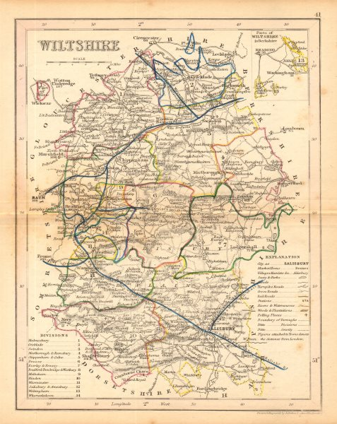 Associate Product WILTSHIRE county map by ARCHER & DUGDALE. Canals polling places exclaves c1845