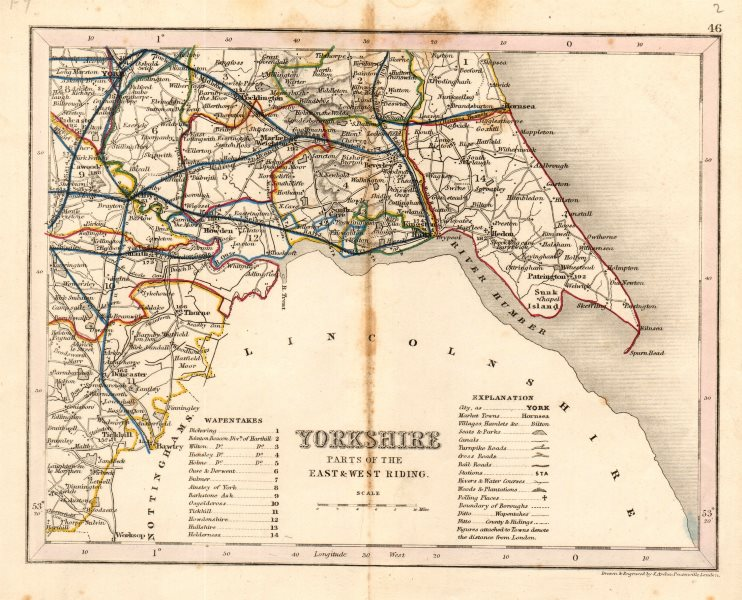 Associate Product YORKSHIRE, SOUTH EAST county map showing wapentakes by ARCHER & DUGDALE c1845
