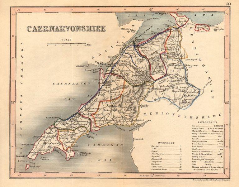 Associate Product CAERNARVONSHIRE county map by ARCHER & DUGDALE. Caernarfonshire. Seats c1845