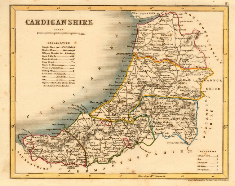 Associate Product CARDIGANSHIRE county map by ARCHER & DUGDALE. Seats canals polling places c1845