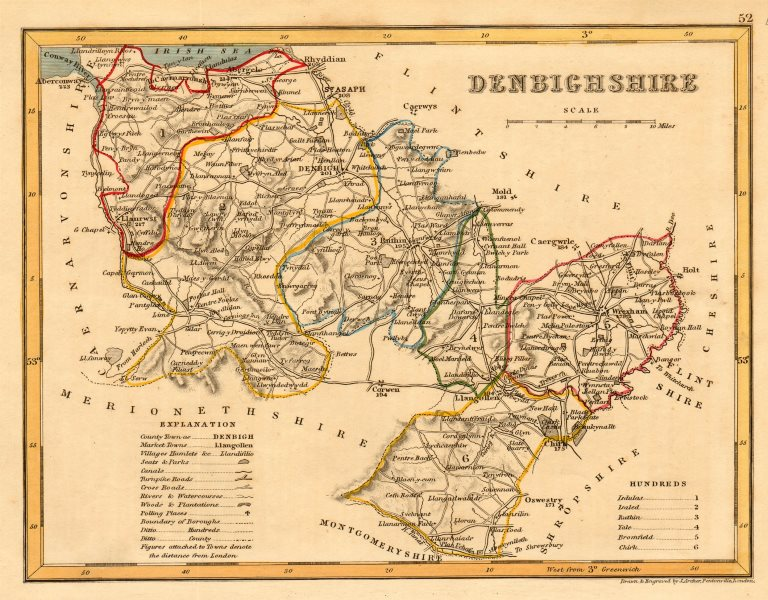 DENBIGHSHIRE county map by ARCHER & DUGDALE. Seats polling places canals c1845