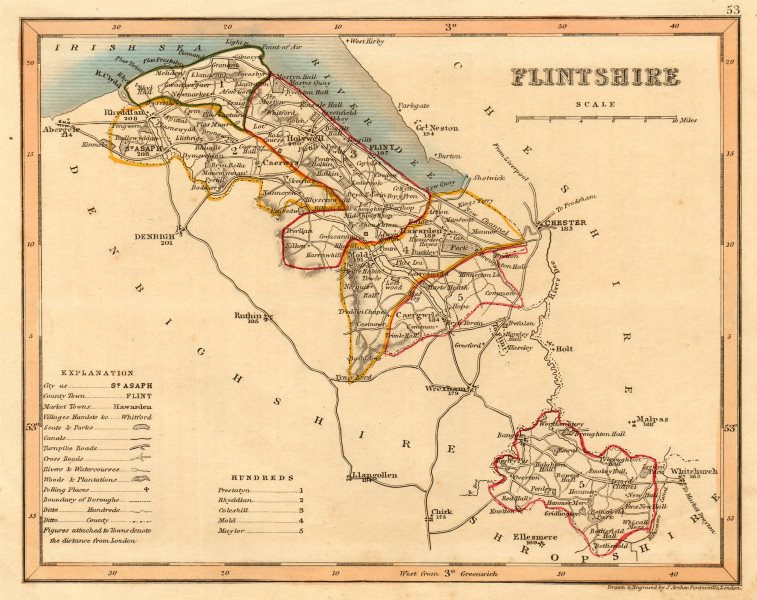 Associate Product FLINTSHIRE county map by ARCHER & DUGDALE. Seats canals polling places c1845