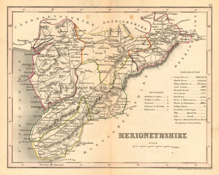 Associate Product MERIONETHSHIRE county map by ARCHER & DUGDALE. Seats canals polling places c1845