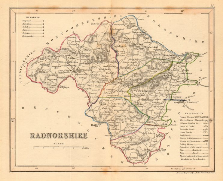 Associate Product RADNORSHIRE county map by ARCHER & DUGDALE. Seats canals polling places c1845