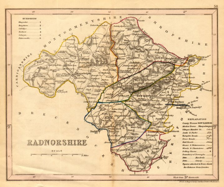 Associate Product RADNORSHIRE county map by ARCHER & DUGDALE. Seats polling places canals c1845