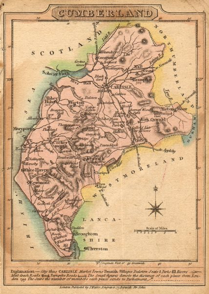 Antique county map of Cumberland by James Wallis. Cumbria. Hand coloured 1810