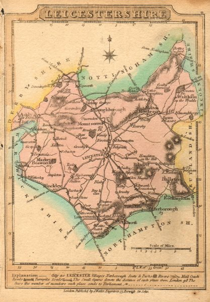 Associate Product Antique county map of Leicestershire by James Wallis. Hand coloured 1810