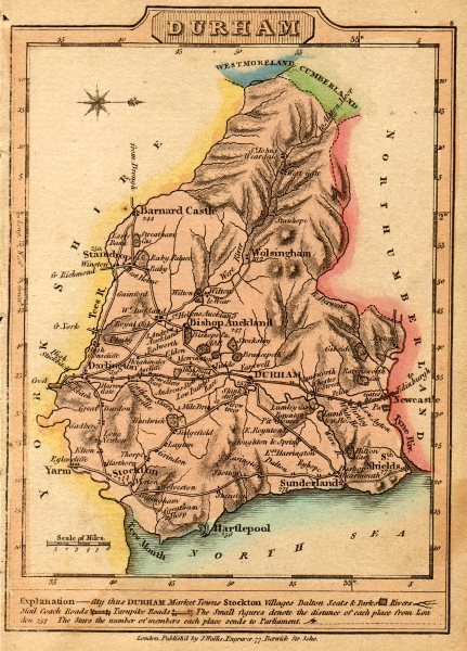 Associate Product Antique map of County Durham by James Wallis. Hand coloured 1810 old