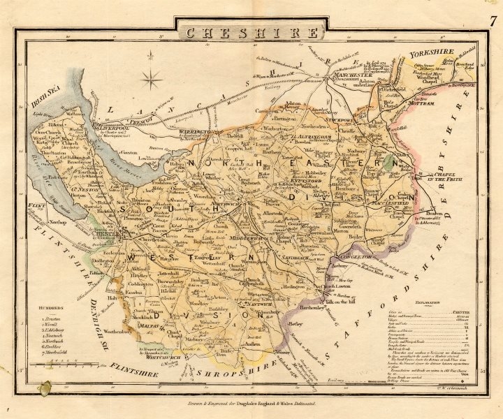 Associate Product Antique county map of CHESHIRE by George COLE & John ROPER c1835 old