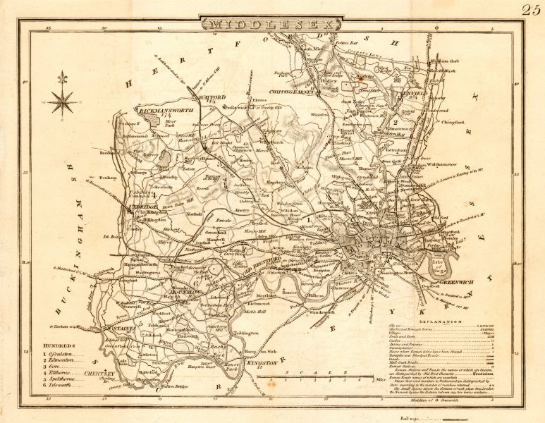 Antique county map of MIDDLESEX by George COLE & John ROPER c1835 old