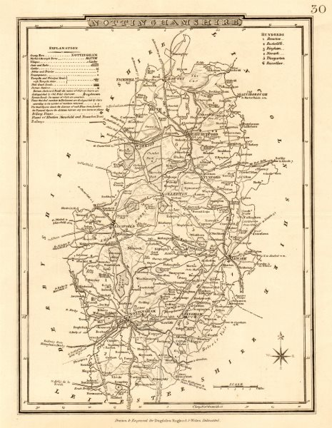 Associate Product Antique county map of NOTTINGHAMSHIRE by George COLE & John ROPER c1835