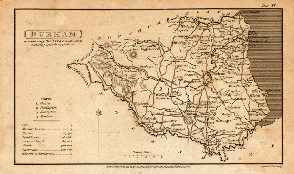 Associate Product Antique map of County DURHAM by Henry Cooper for Benjamin Pitts Capper 1808