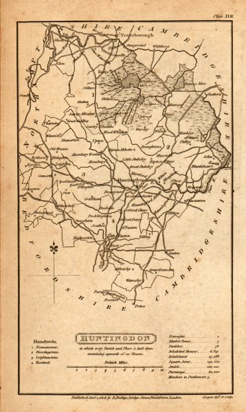 Antique county map of HUNTINGDON by Henry Cooper for Benjamin Pitts Capper 1808