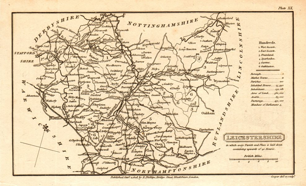 Associate Product Antique county map of LEICESTERSHIRE by Henry Cooper for Benjamin Capper 1808