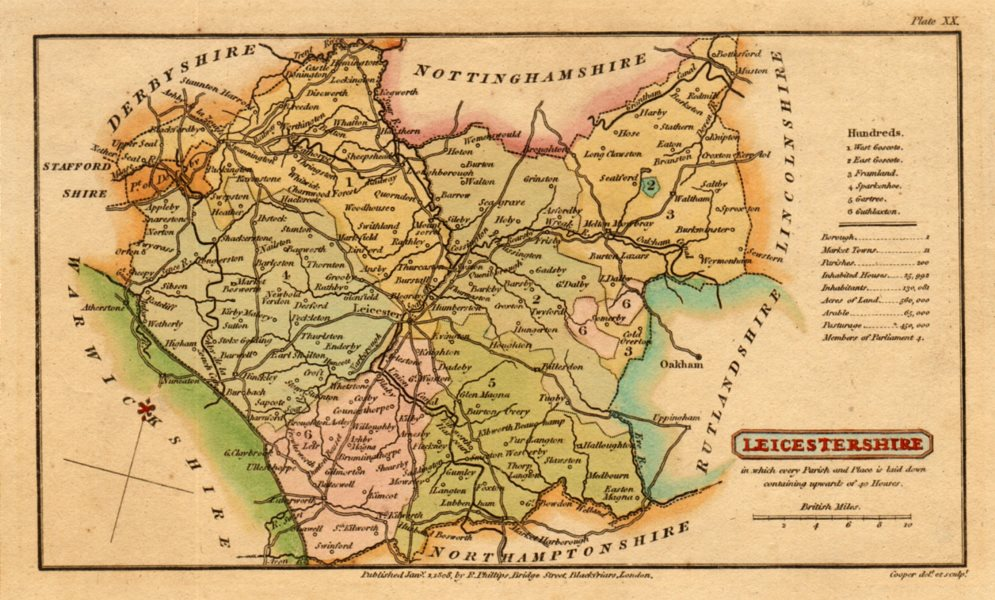 Associate Product Antique county map of LEICESTERSHIRE by Henry Cooper for Capper. Coloured 1808