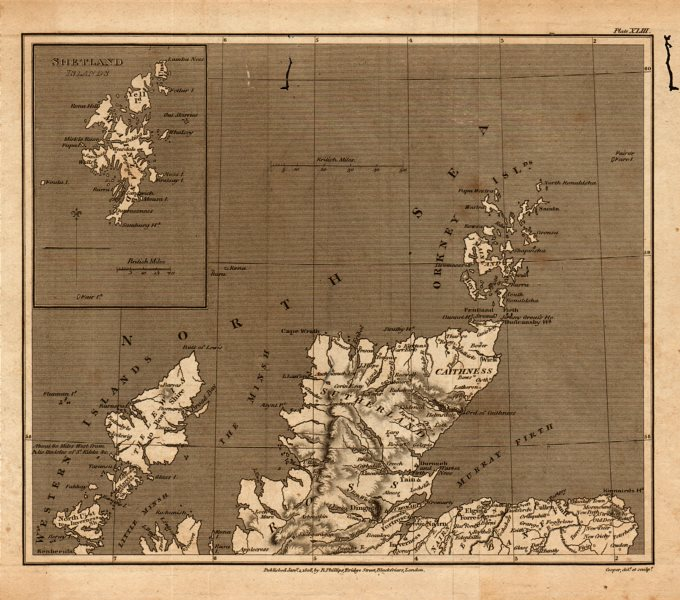 Associate Product Antique map of northern SCOTLAND by Henry Cooper for Benjamin Capper 1808