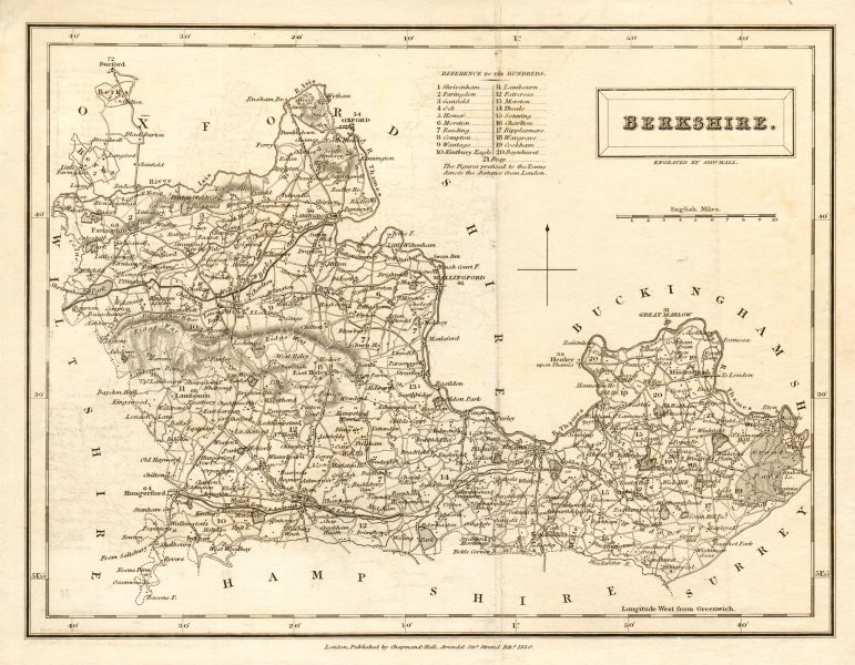 Associate Product Antique county map of BERKSHIRE by Sidney Hall 1830 old plan chart