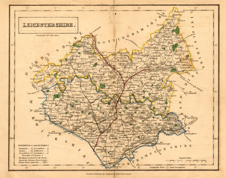 Associate Product Antique county map of LEICESTERSHIRE by Sidney Hall c1830 old