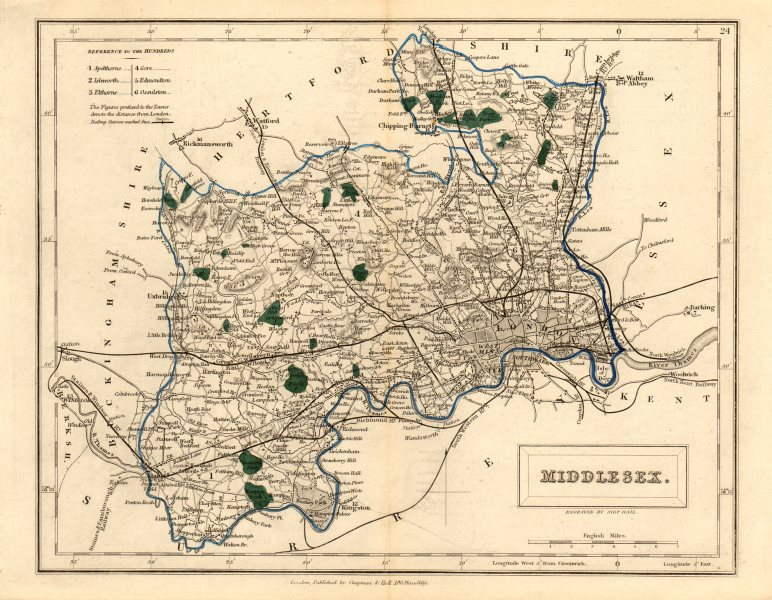 Associate Product Antique county map of MIDDLESEX by Sidney Hall c1830 old chart