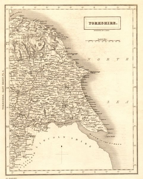 Associate Product Antique county map of eastern YORKSHIRE by Sidney Hall 1833 old
