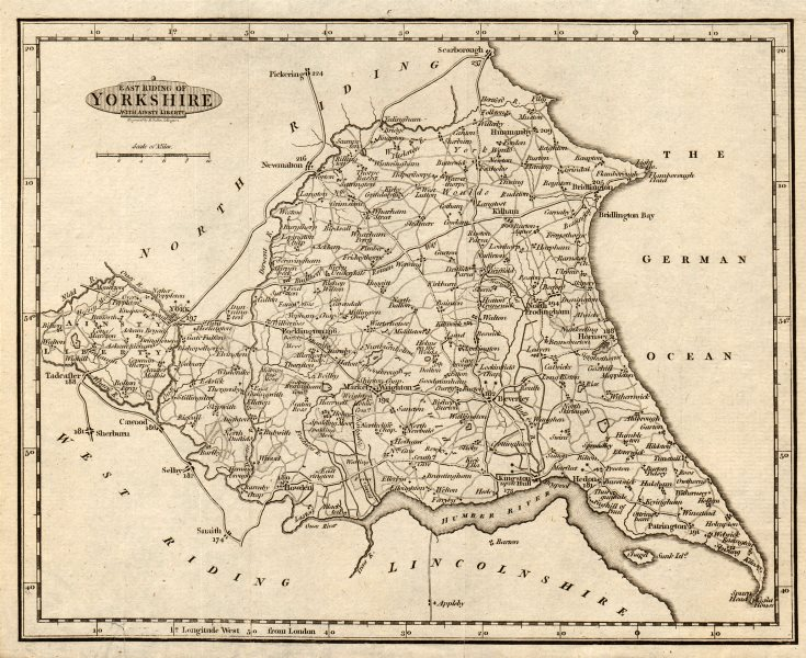 East Riding of Yorkshire with Ainsty Liberty by Benjamin Baker c1810 old map