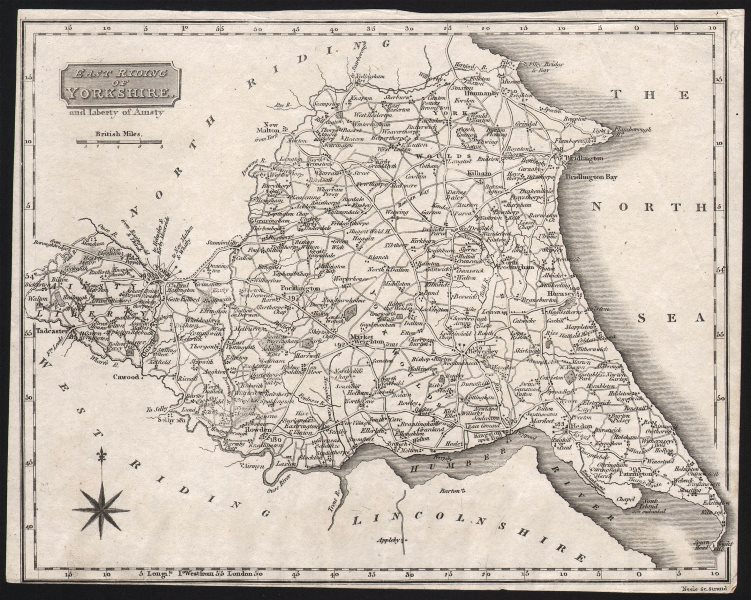 Associate Product East Riding of Yorkshire and Liberty of Ainsty. Trimmed. NEELE c1818 old map