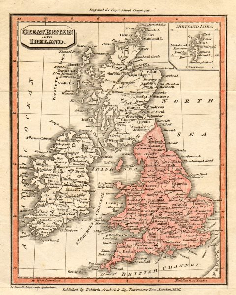 Associate Product Great Britain and Ireland by John Charles Russell 1826 old antique map chart
