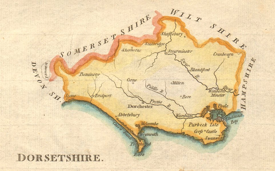Associate Product Antique county map of Dorsetshire by John Aiken. Hand coloured c1790 old