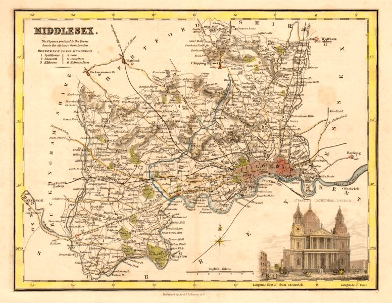 Associate Product Antique county map of Middlesex by Archibald Fullarton. London railways c1833