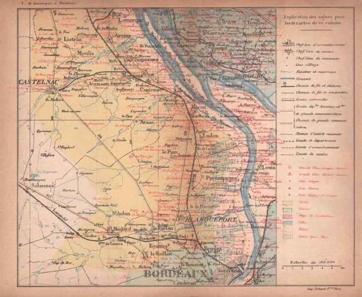 Associate Product BORDEAUX WINE MAP. Carte vinicole. Bourg Haut-Médoc Chateaux. COCKS & FERET 1898