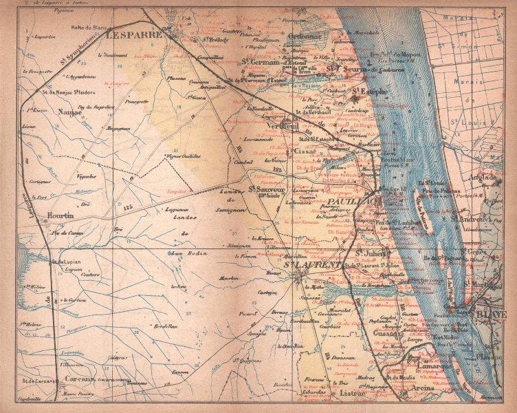 Associate Product BORDEAUX WINE MAP Blaye Pauillac St Julien St Estèphe chateaux. COCKS/FERET 1898