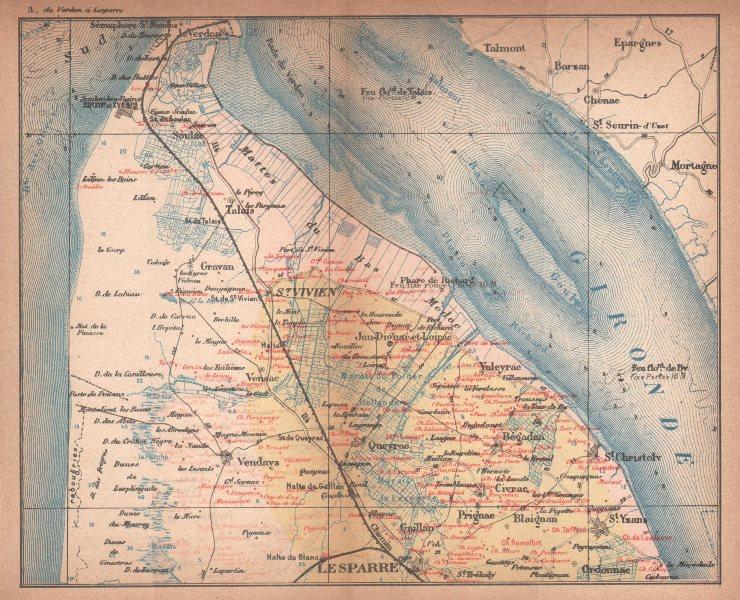 Associate Product BORDEAUX WINE MAP. Carte vinicole. Médoc St Vivien chateaux. COCKS & FERET 1898