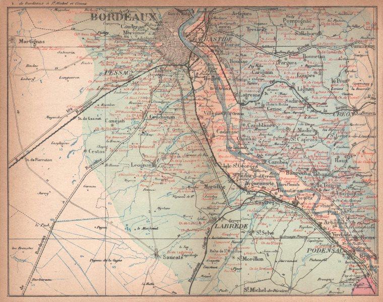Associate Product BORDEAUX WINE MAP. Graves Pessac Entre-deux-Mers. chateaux. COCKS & FERET 1898