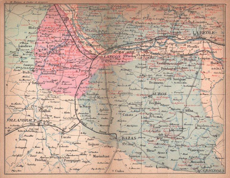 Associate Product BORDEAUX WINE MAP. La Réole. Graves Entre-deux-Mers chateaux. COCKS & FERET 1898