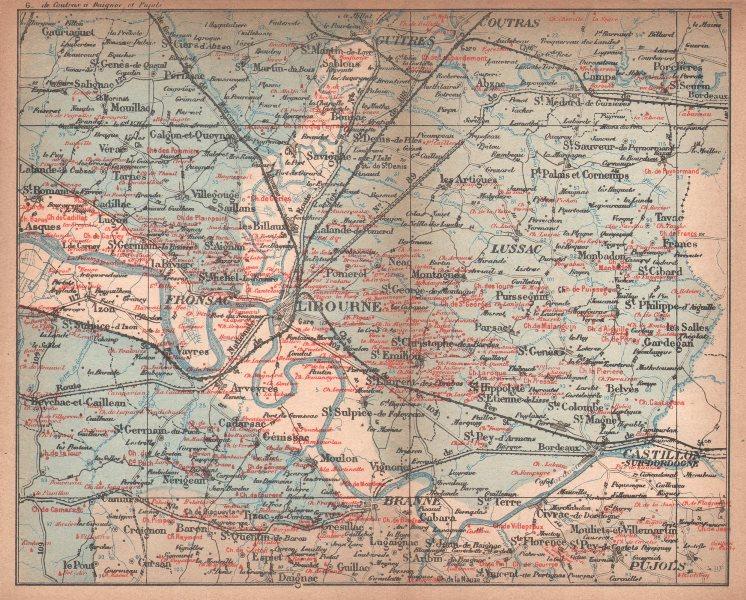 BORDEAUX WINE MAP. St-Emilion Pomerol Canon-Fronsac chateaux. COCKS & FERET 1898