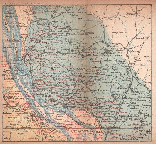Carte Bordeaux Margaux.Details About Bordeaux Wine Map Carte Vinicole Margaux Bourg Blaye Chateaux Cocks Feret 1898