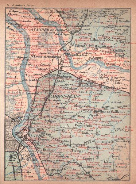 Associate Product BORDEAUX WINE MAP. Entre-deux-mers Haut-Médoc chateaux. COCKS & FERET 1898