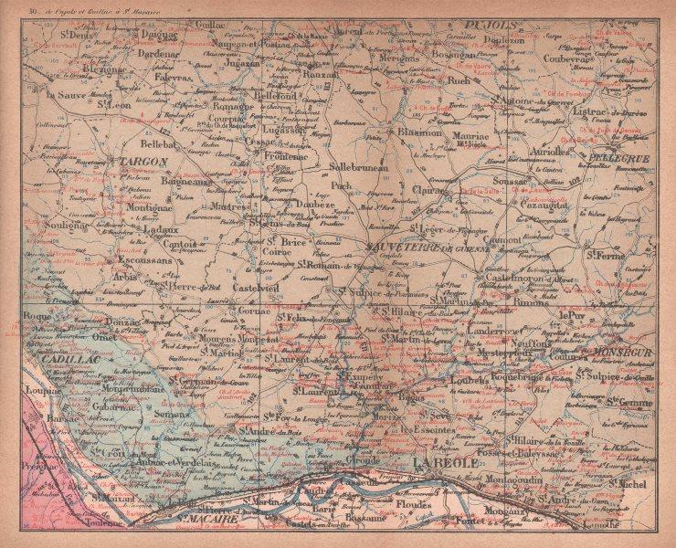 Associate Product BORDEAUX WINE MAP Carte vinicole. Entre-deux-mers chateaux. COCKS & FERET 1898
