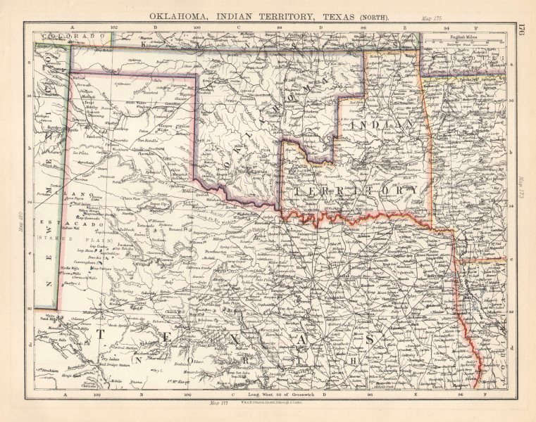 Details about USA SOUTH CENTRAL. Oklahoma, Indian Territory & North Texas.  JOHNSTON 1901 map