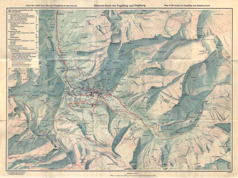 Associate Product ENGELBERG-TITLIS vintage ski piste trail map. Switzerland c1940 old