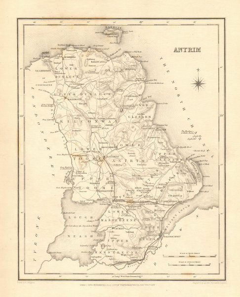 Associate Product COUNTY ANTRIM antique map for LEWIS by CREIGHTON & DOWER - Ulster 1846 old
