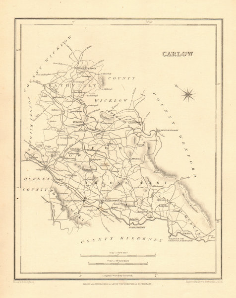 Associate Product COUNTY CARLOW antique map for LEWIS by CREIGHTON & DOWER - Ireland 1846