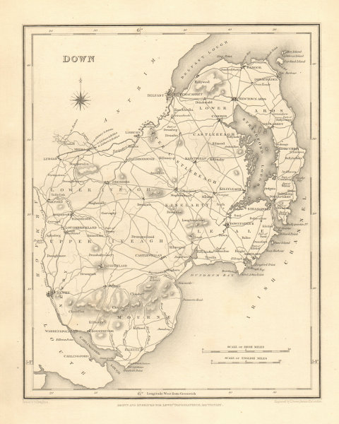Associate Product COUNTY DOWN antique map for LEWIS by CREIGHTON & DOWER - Ulster 1846 old