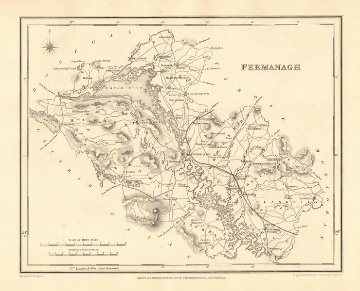 Associate Product COUNTY FERMANAGH antique map for LEWIS by CREIGHTON & DOWER - Ulster 1846