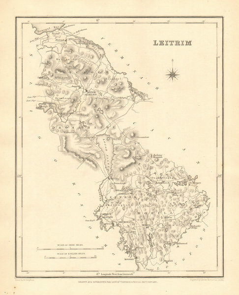 Associate Product COUNTY LEITRIM antique map for LEWIS by CREIGHTON & DOWER - Ireland 1846