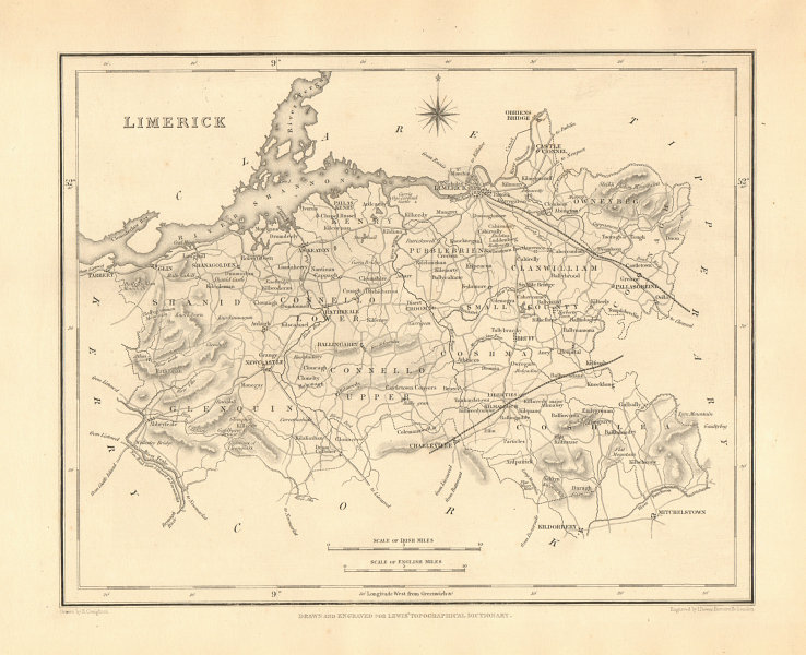 Associate Product COUNTY LIMERICK antique map for LEWIS by CREIGHTON & DOWER - Ireland 1846